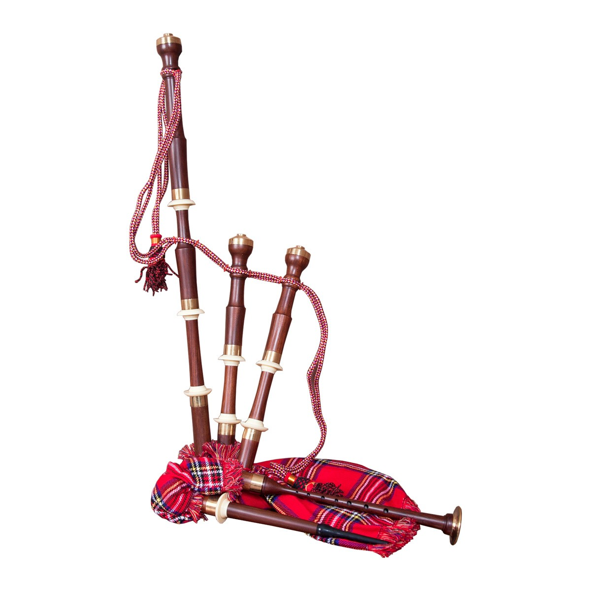 Roosebeck Full Size Sheesham Chalice Style Bagpipe w/ Red Tartan Cover