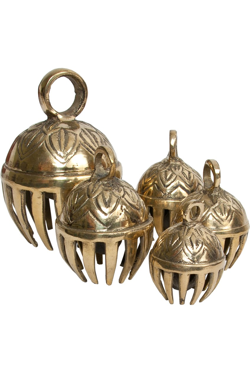 DOBANI Graduated Solid Brass Elephant Bells 5-Piece 1.5-to-3'