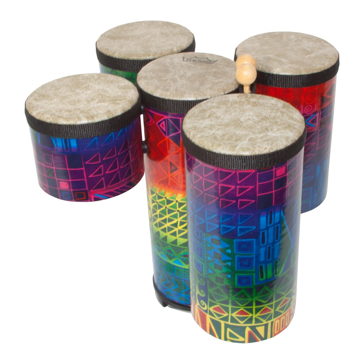 Remo Cluster Drums, Mini, 5 Piece Set, Fabric Rainbow