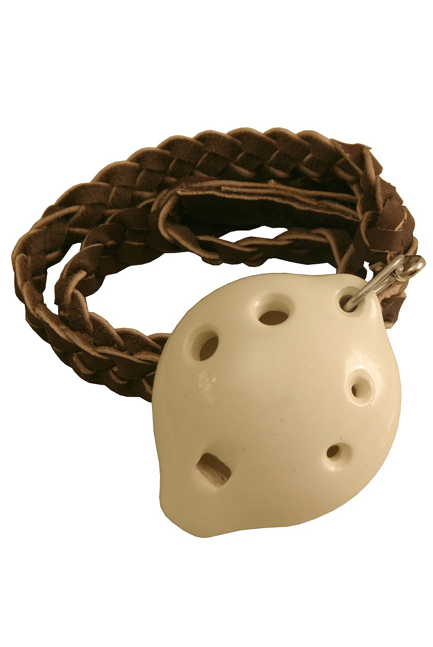 DOBANI Soprano Ocarina w/ Braided Necklace D5 - White