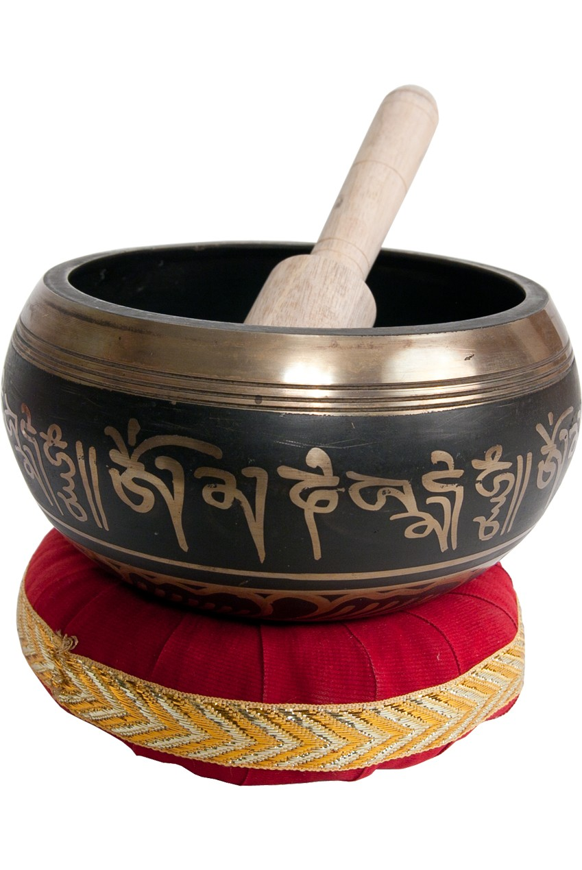 DOBANI Decorated Singing Bowl 4 1/2' - Black