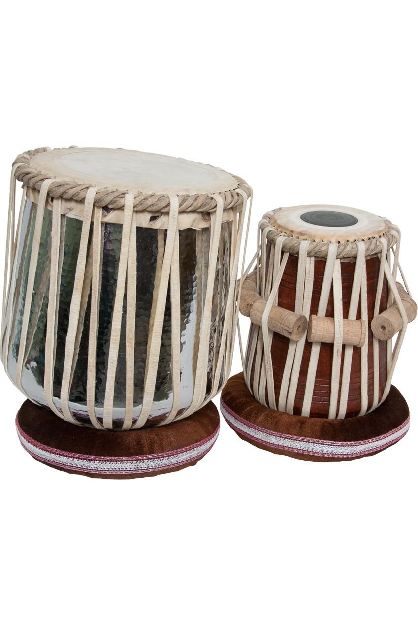 banjira Jori Tabla Set, Brass Nickel Plated Dhamas and 5.75 inch tabla, D#  *Blemished