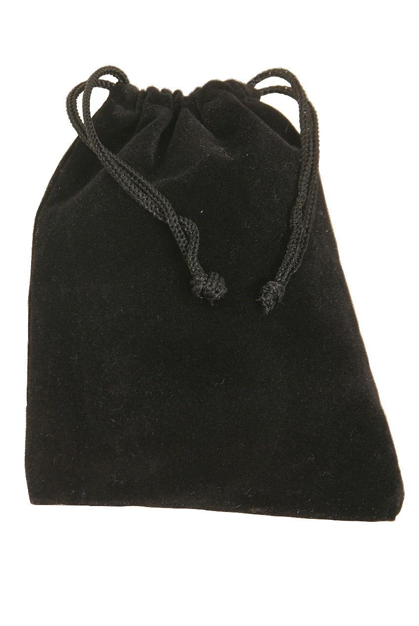 Mid-East Velvet Drawstring Bag for Finger Cymbals 4'x5.5' - Black