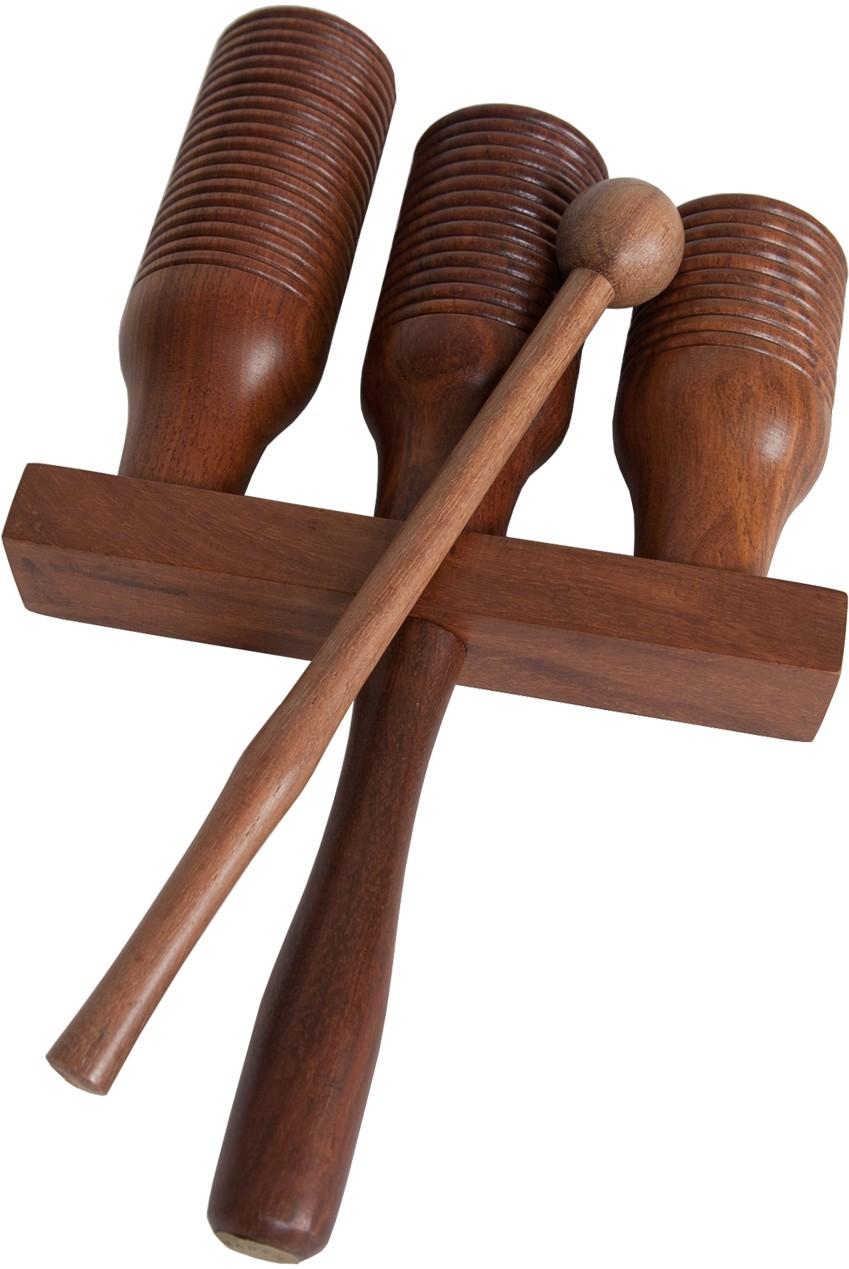DOBANI 3-bell Wooden Agogo w/ Mallet *Blemished