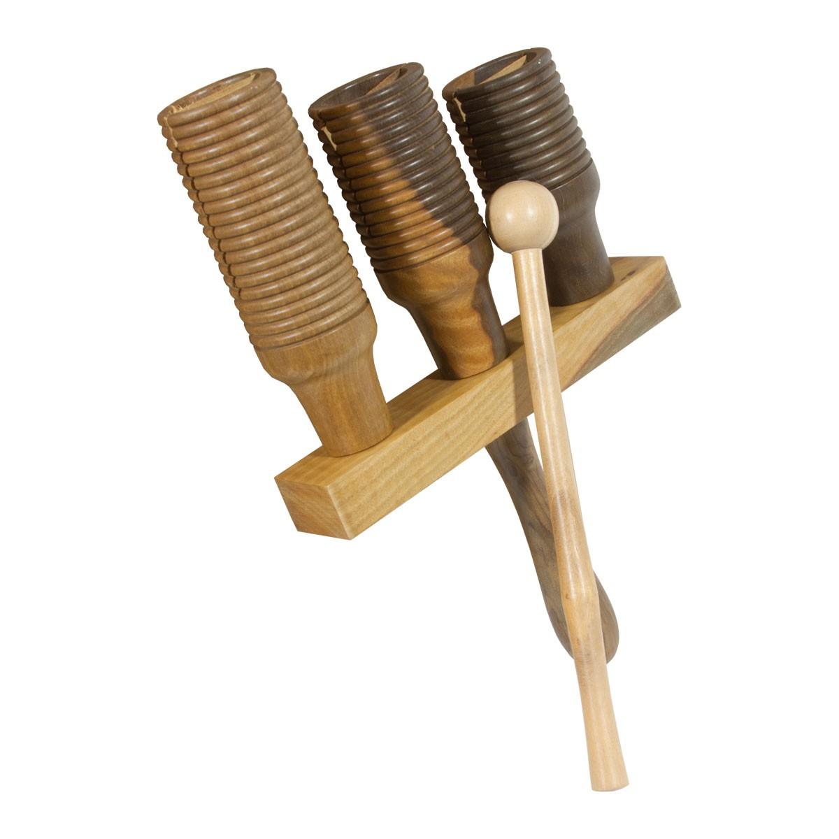 DOBANI 3-bell Wooden Agogo w/ Mallet, Walnut